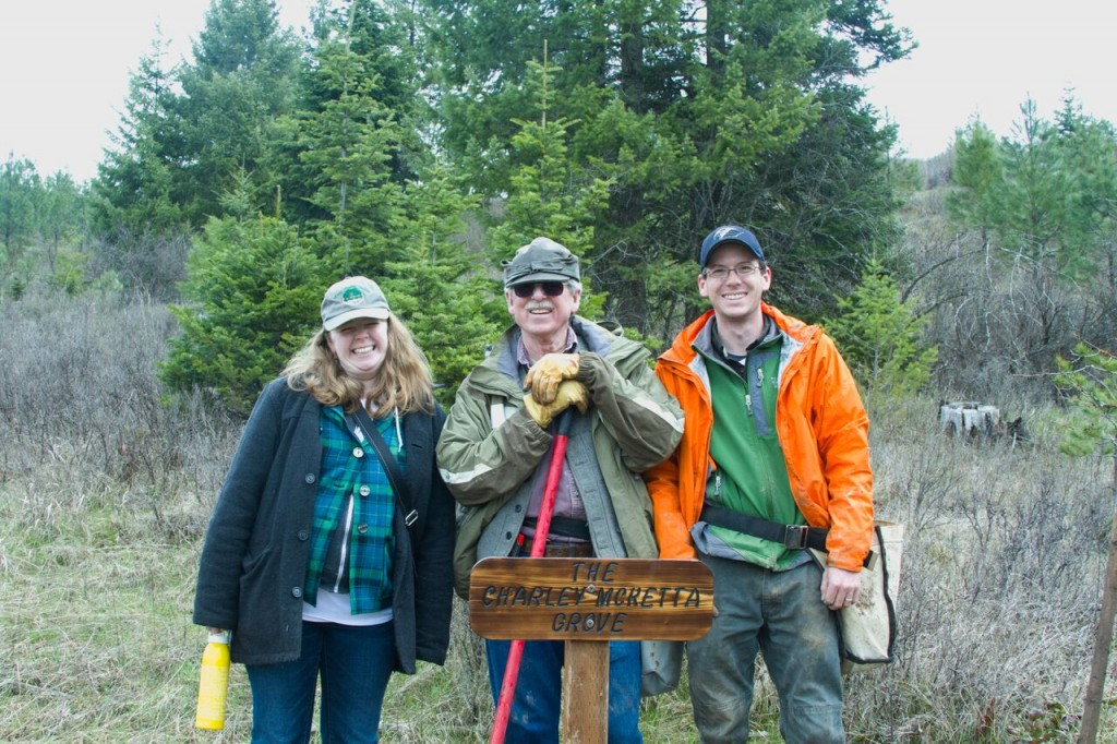 Birthday tree planting with my dad and brother, 2015